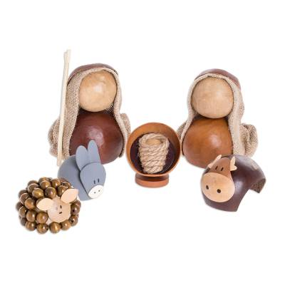 6 Naif Dried Gourd Nativity Figurines from El Salvador