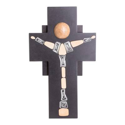 Gourd Accent Modern Wood Crucifix from El Salvador