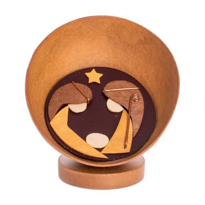 Gourd Accent Modern Wood Nativity Figurine from El Salvador