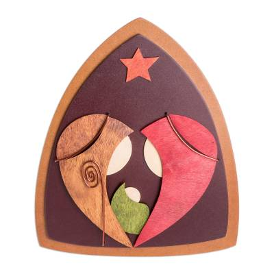 Gourd Accent Modern Wood Nativity Plaque from El Salvador