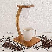 Teak wood single-serve drip coffee stand, 'Coffee Fragrance' - Single Serve Teak Drip Coffee Stand
