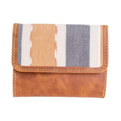 Handmade Leather and Cotton Wallet