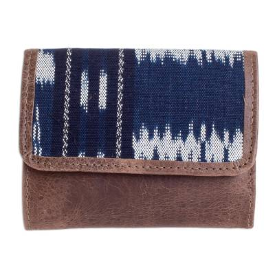 Brown and Blue Trifold Wallet