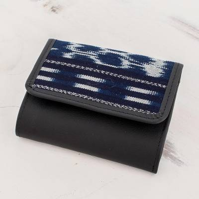 Leather and cotton trifold wallet, 'Pattern Play in Blue and Black' - Artisan Crafted Leather and Cotton Wallet