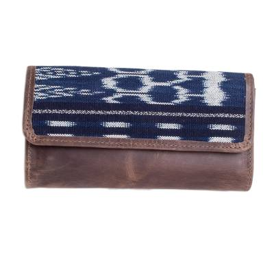 Brown Leather and Cotton Wallet
