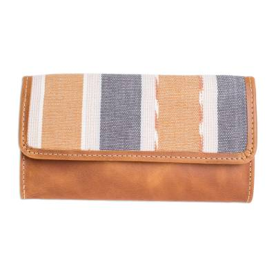 Striped Cotton and Leather Wallet