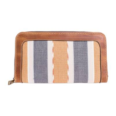Multi-pocket Leather and Cotton Wallet