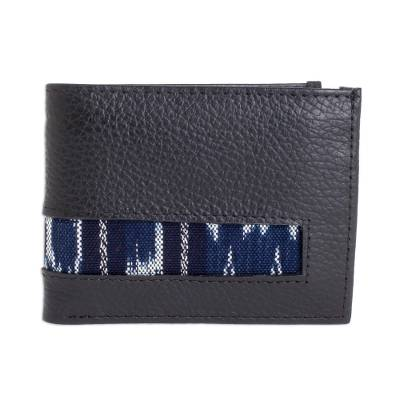 Black Leather Wallet with Jaspe Accent