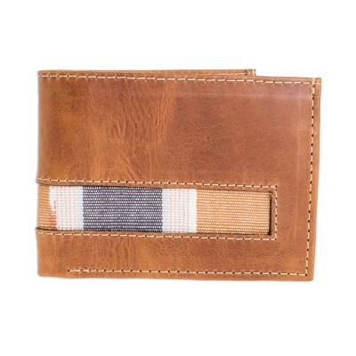 Bifold Wallet in Brown Leather and Cotton