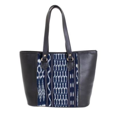 Black Leather and Cotton Jaspe Tote Bag