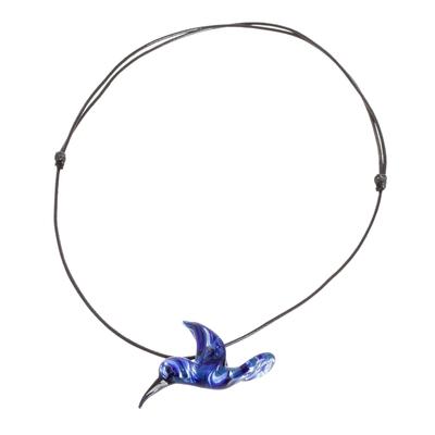Blue Hummingbird Art Glass Necklace