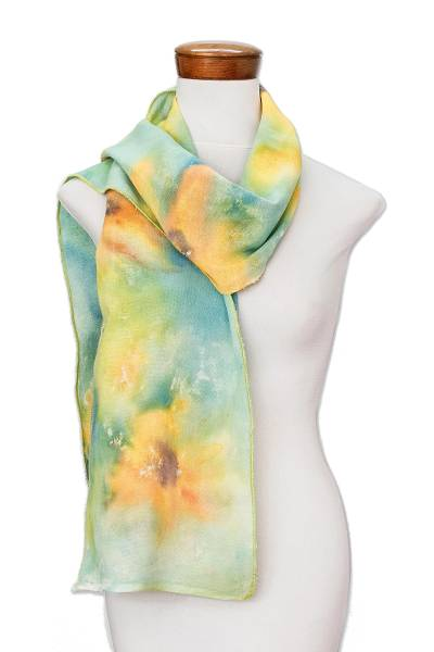 Hand-painted Floral Cotton Scarf from Costa Rica