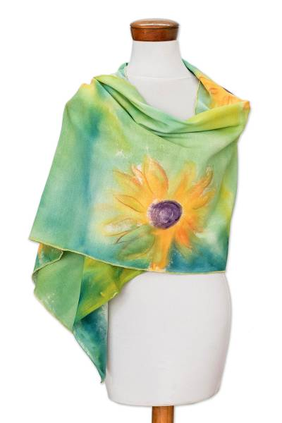 Hand-painted Floral Cotton Shawl from Costa Rica