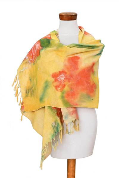 Hand Painted Cotton Shawl from Costa Rica