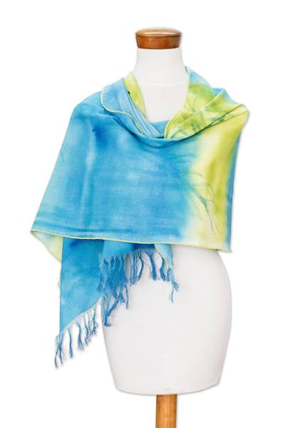 Hand-Painted Blue and Green Cotton Shawl from Costa Rica