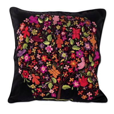 Colorful Embroidered Floral Tree Black Cotton Cushion Cover