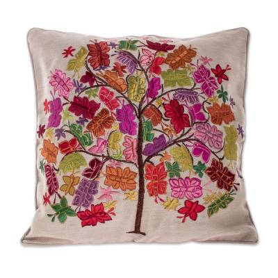 Colorful Embroidered Floral Tree Grey Cotton Cushion Cover
