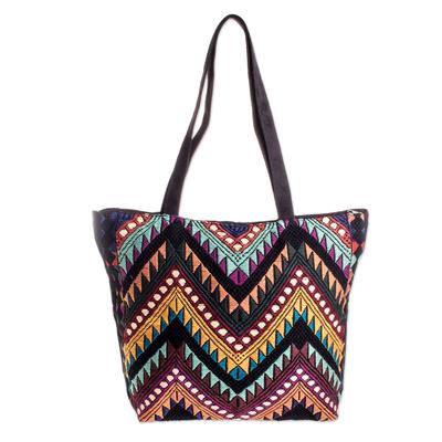 Handwoven Multicolor & Black Cotton Shoulder Bag Tote