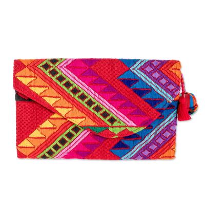 Colorful Red Handwoven Cotton Clutch Handbag