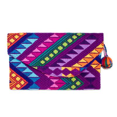 Colorful Purple Handwoven Cotton Clutch Handbag