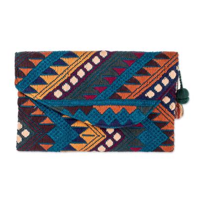 El Salvadoran Colorful Blue Handwoven Cotton Clutch Handbag