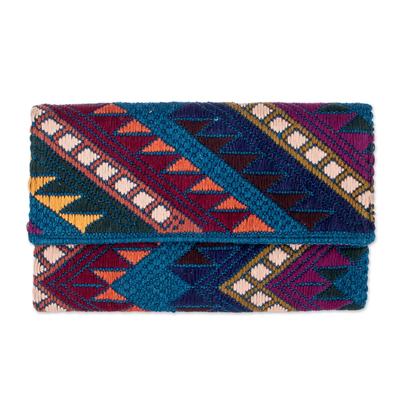 Handwoven Brown-Blue-Purple Cotton Clutch Handbag