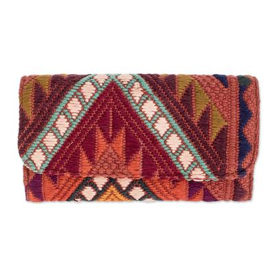 Handwoven Ginger Brown-Yellow-Aquamarine Cotton Wallet