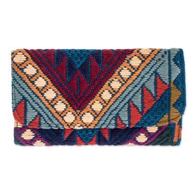 Handwoven Blue-Navy-Purple-orange Cotton Wallet