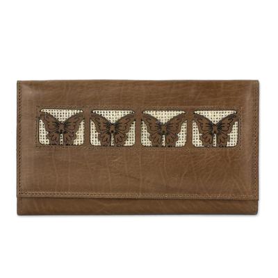 Butterfly-Motif Leather Wallet