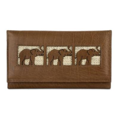 Handmade Elephant Motif Leather Wallet