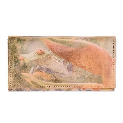 Tropical Frog Motif Leather Wallet