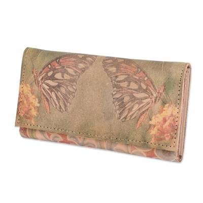 Hand-made Leather Tri-Fold Butterfly Wallet From Costa Rica