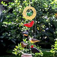 Wood mobile, 'Birds of a Feather' - Colorful Wood Bird Mobile