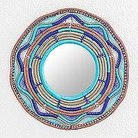 Natural fiber mirror, 'Moonshine' - Pine Needle and Yarn Framed Wall Mirror from Nicaragua,