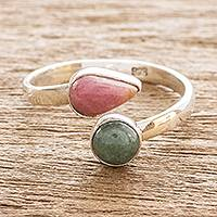 Jade and rhodonite wrap ring, 'Now and Then' - Rhodonite and Jade Ring