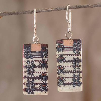 Wood dangle earrings, 'San Pedro Nécta' - Hand Crafted Wood Earrings from Guatemala