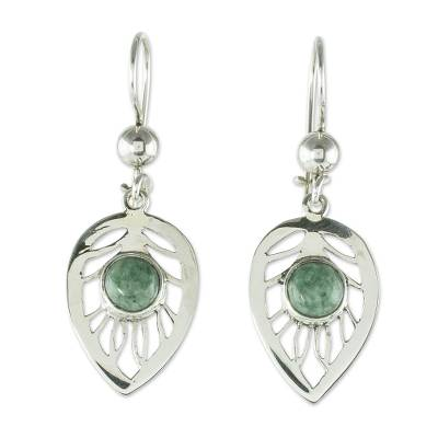 Jade dangle earrings, 'Leaf Center' - Leaf-Shaped Green Jade Earrings