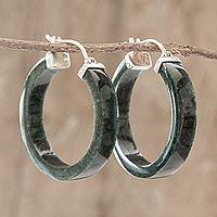 Jade hoop earrings, 'Synchronicity in Dark Green' - Handmade Jade Hoop Earrings