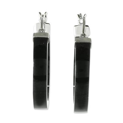 Jade hoop earrings, 'Synchronicity in Black' - Artisan Black Jade Hoop Earrings