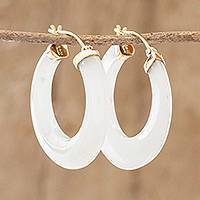 Gold and jade hoop earrings, 'Moonlight Clarity' - Guatemalan White Jade and 10k Gold Hoop Earrings