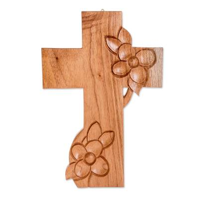 Hand-carved Wooden Cross With Flowers From Guatemala