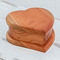 Wooden jewelry box, 'Burning Love' - Cedar Wood Heart-Shaped Jewelry Box From Guatemala
