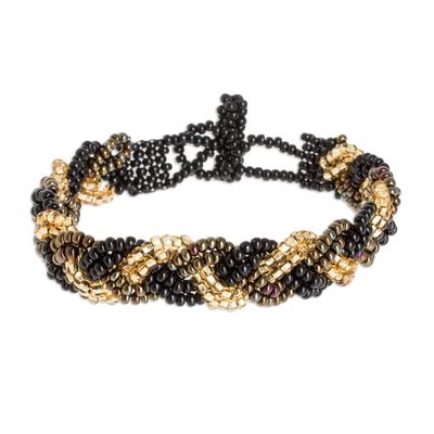 Beaded wristband bracelet, 'Braided Black and Gold' - Black and Gold Beaded Bracelet