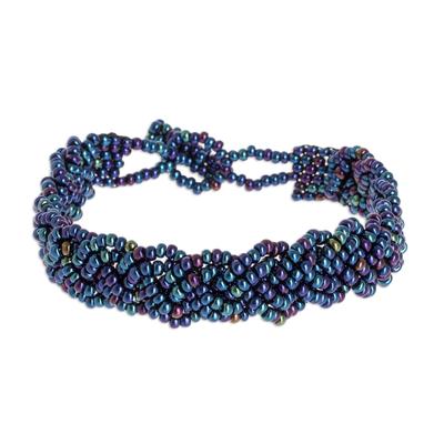 Beaded wristband bracelet, 'Braided Peacock' - Iridescent Beaded Bracelet