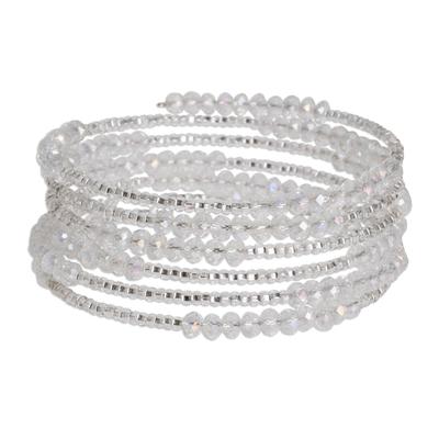Glass beaded wrap bracelet, 'Moon Shine' - Clear Czech Glass Bead Wrap Bracelet from Guatemala