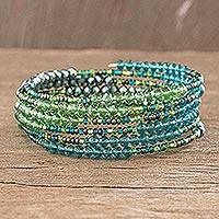 Beaded wrap bracelet, 'Green Ribbon' - Beaded Green Wrap Bracelet
