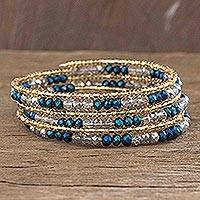 Beaded wrap bracelet, 'Sunlight and Sea' - Beaded Wrap Bracelet in Blue and Gold
