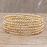 Beaded wrap bracelet, 'Golden Trail' - Golden Glass Beaded Wrap Bracelet