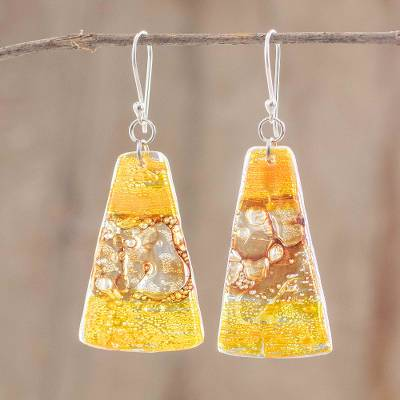 Recycled plastic dangle earrings, 'Gleaming Sunset' - Sterling Silver And Recycled Plastic Earrings From Guatemala