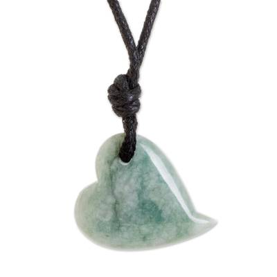 Jade Heart Pendant Necklace in Apple Green from Guatemala
